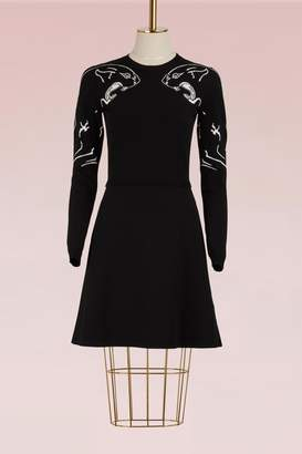 Valentino Panther Long-Sleeve Dress