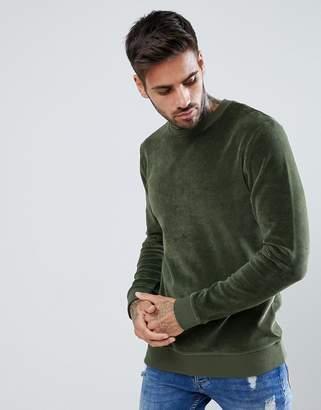 Asos Design Muscle Sweatshirt In Green Velour