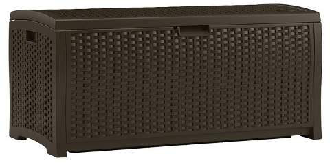 Resin Wicker Deck Box 73 Gallon - Brown