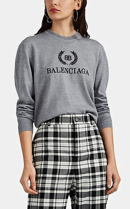 3599f482dffe Balenciaga Women's Logo-Embroidered Wool Sweater - Gray
