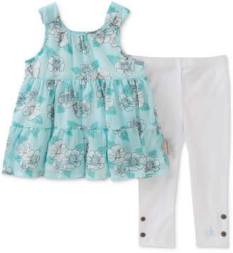 Calvin Klein 2-Pc. Mint Printed Tunic & Leggings Set, Baby Girls
