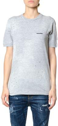 DSQUARED2 Distressed Cotton Logoed T-shirt