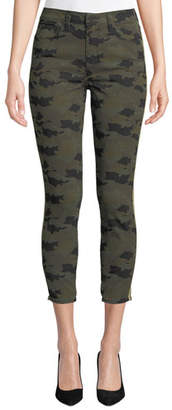 L'Agence Margot Cropped Camo-Print Skinny Jeans with Side-Stripes