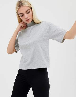 Asos Design DESIGN high neck short sleeve t-shirt in grey