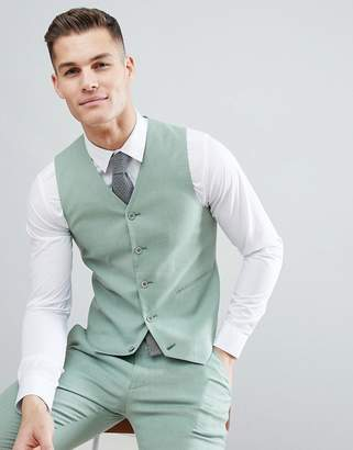Asos DESIGN wedding super skinny suit vest in sage green linen