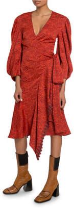 Chloé 3/4-Sleeve V-Neck Wrap Dress