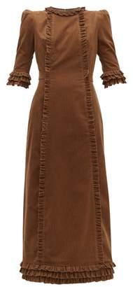 The Vampire's Wife Cate Ruffle Trim Corduroy Cotton Midi Dress - Womens - Beige