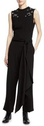 McQ Deco Embellished Crepe Sleeveless Jumpsuit
