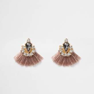 River Island Beige tassel fan jewel embellished earrings