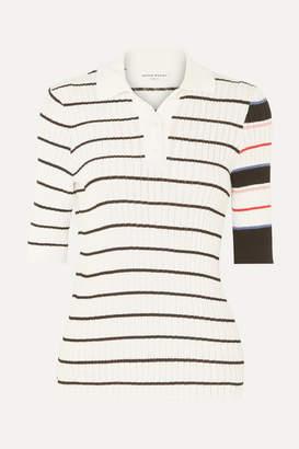 Sonia Rykiel Striped Ribbed-knit Cotton-blend Polo Shirt - White