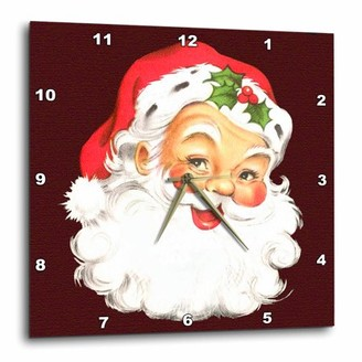 3dRose Large Happy Santa Claus Face Cartoon, Wall Clock, 13 by 13-inch