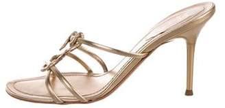 Rene Caovilla Leather Slide Sandals