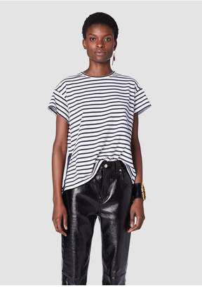 Derek Lam 10 Crosby Short Sleeve Tee With Satin Side Placket