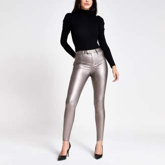 River Island Womens Silver metallic Hailey high rise jeans
