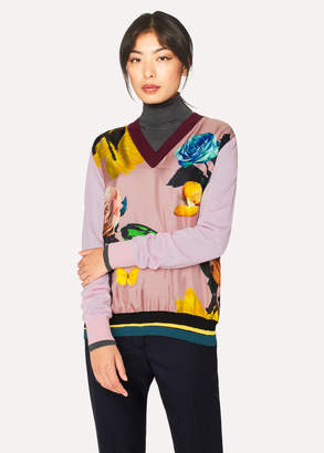 Paul Smith Women's Pink 'Rose' Print Wool Sweater