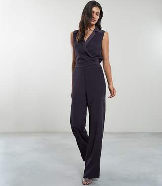 Reiss Our last order date for Christmas has now passed DINA TUXEDO FRONT JUMPSUIT Navy