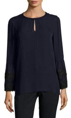 Saydie Long-Sleeve Raw-Silk Blouse