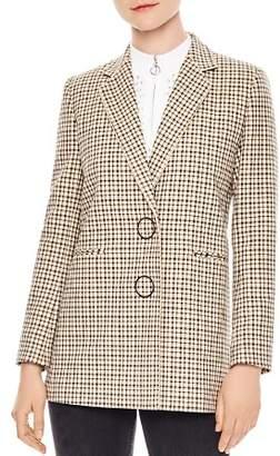 Sandro Zack Check-Pattern Cotton Blazer
