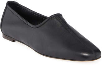 BY FAR Petra Smooth Leather Flats, Black