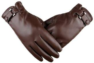 King Star Men Leather Touch Screen Gloves Warm Lined Thick Warmer Winter Gloves