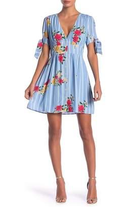 Adelyn Rae Iris Floral Print Tie Sleeve Dress