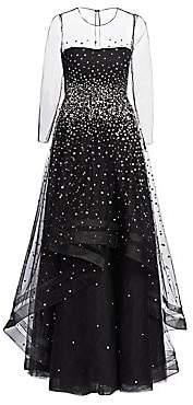 Ahluwalia Women's Helena Embellished Illusion Gown
