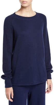 Vince Ribbed Raglan-Sleeve Crewneck Sweater