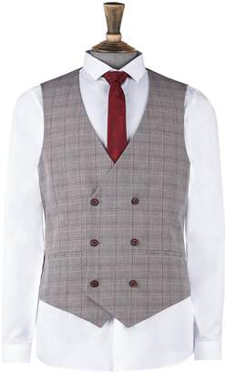 Burton Mens Grey And Red Prince of Wales Check Skinny Fit Waistcoat
