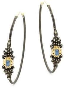 Armenta Champagne Diamond & Gemstone Hoop Earrings