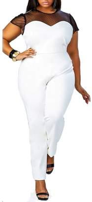 062cfb7cbc6 Leezeshaw Women s Lace Hollow-Out O-Neck Plus Size Tunic Jumpsuit Rompers