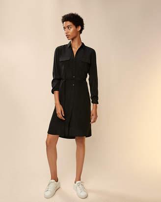 Express Solid Midi Shirt Dress