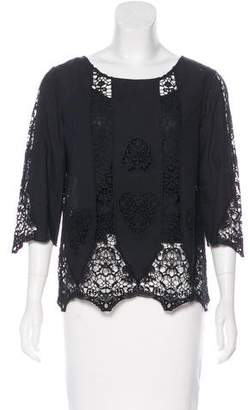 Figue Long Sleeve Crocheted Top