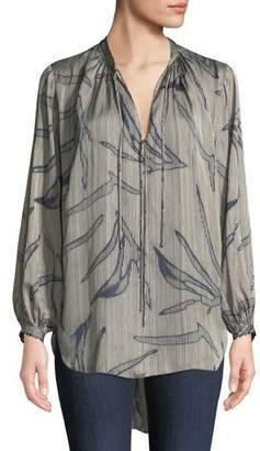 Halston Printed Flowy Long-Sleeve Blouse