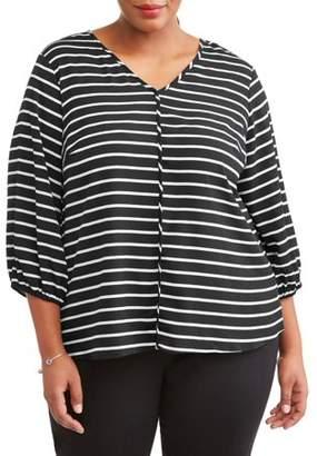 Lifestyle Attitudes Women's Plus Size Plunge Striped Blouse