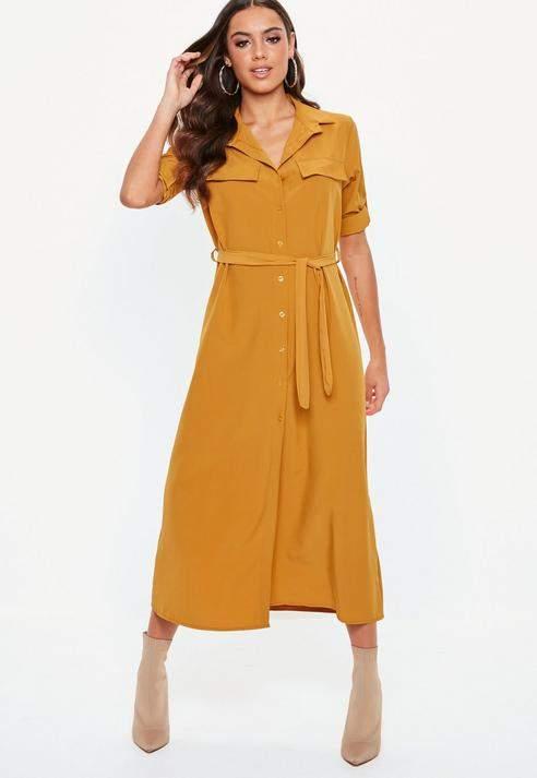 Mustard Long Sleeve Utility Midi Shirt Dress, Mustard