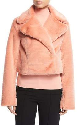Diane von Furstenberg Collared Long-Sleeve Cropped Faux-Fur Jacket