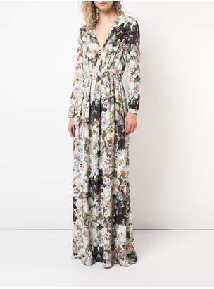 ADAM by Adam Lippes Printed Silk Crepe V-Neck Gown