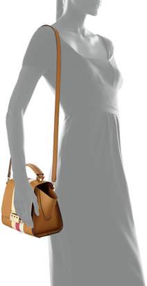 Zac Posen Eartha Iconic Racing Stripes Leather Crossbody Bag, Camel