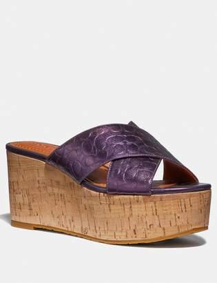 Coach Cross Band Slide Wedge Sandal
