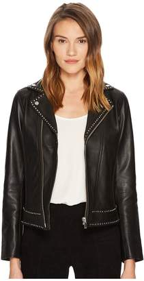 The Kooples Leather Jacket with Metal Rivets Women's Coat