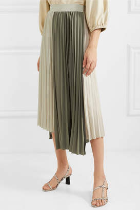 Tiffany & Co. Frankie Shop Two-tone Pleated Crepe Midi Skirt - Army green