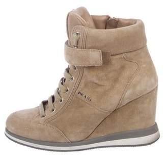 Prada Sport Suede Wedge Sneakers