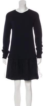 RED Valentino Wool Long Sleeve Mini Dress