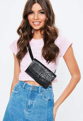 Missguided Black Multi Layer Bum Bag, Black