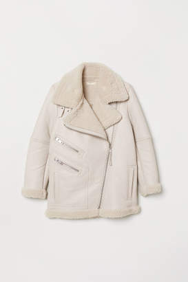 H&M Leather Biker Jacket - Beige