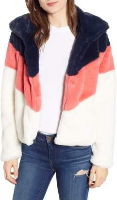 Madison & Berkeley Chevron Faux Fur Jacket