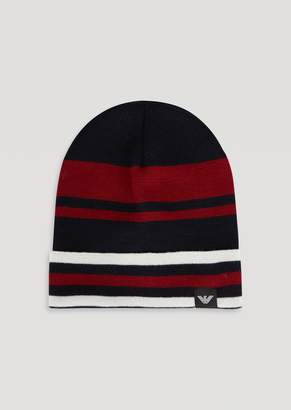 Emporio Armani Knitted Beanie With Jacquard Stripes