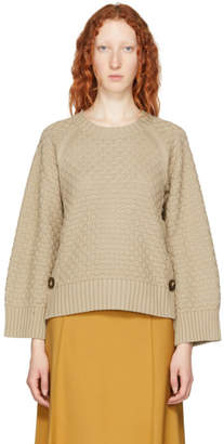 See by Chloe Beige Bobble Stitch Crewneck Sweater