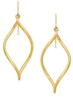 Lord & Taylor 14K Yellow Gold Oval Open Twist Dangle Earrings