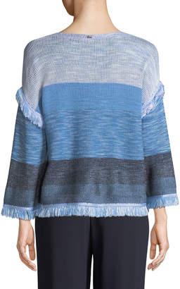 St. John Striped Knit Fringed Sweater